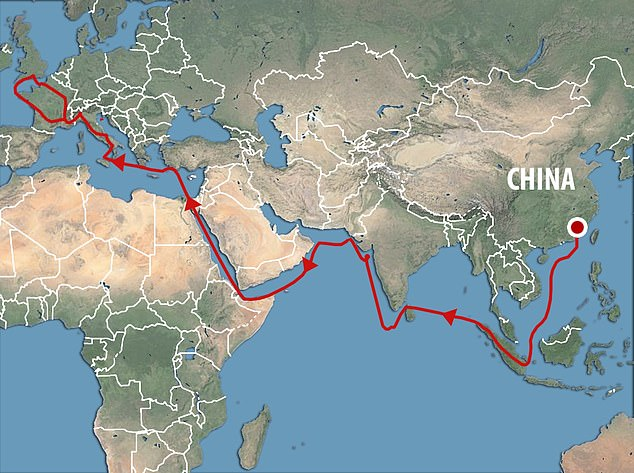 Possible Chinese coin trade route in the 13th or 14th century.It could arrived through the indirect trade that brought Chinese pottery into the households of 'some of the richest people in medieval Europe', says a University of Cambridge expert