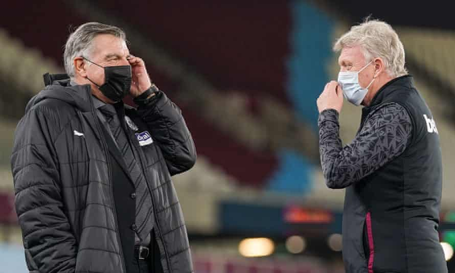 David Moyes with Sam Allardyce before West Ham's 2-1 win against West Brom