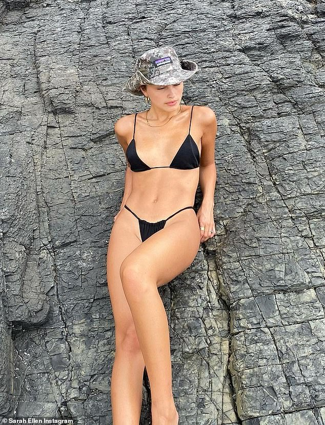 Flashing the flesh! Ex Neighbours star Sarah Ellen, 22, (pictured) flaunted her incredible figure as she paraded around in skimpy bikinis on a camping trip which she shared to Instagram