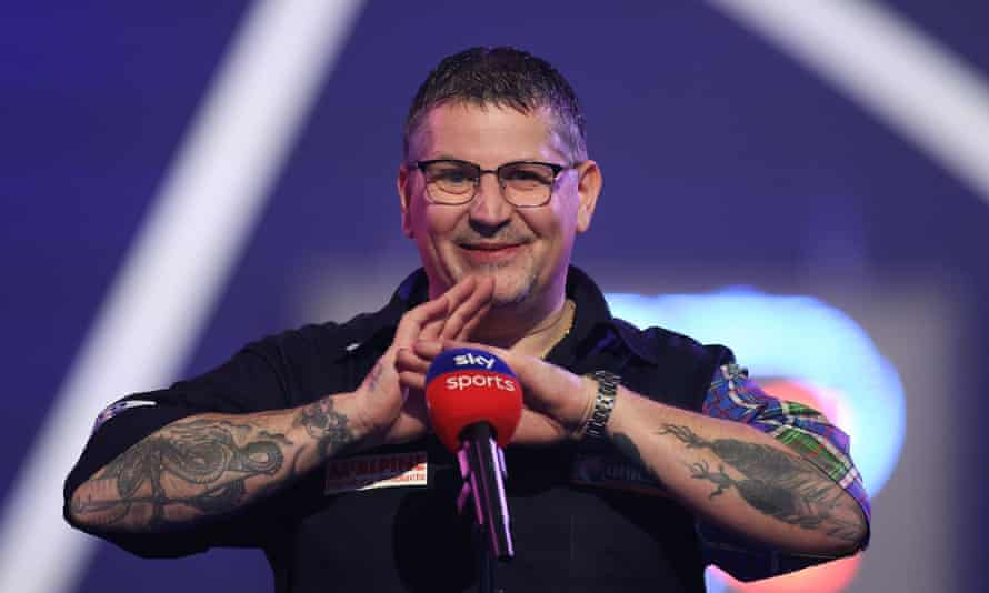 Gary Anderson enjoys his interview after winning his semi-final against Dave Chisnall.