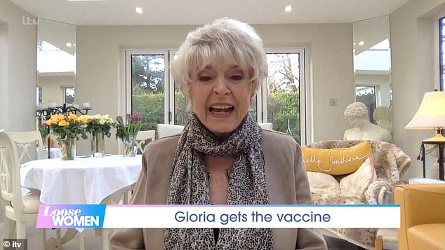 Delighted:Gloria Hunniford says she is 'a woman with hope' after finally getting the coronavirus vaccine