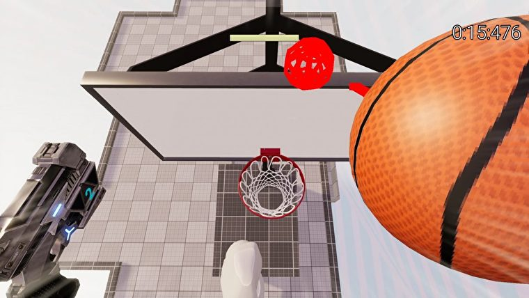 A first-person screenshot of Grapple Hoops., depicting an outstretched arm preparing to dunk a ball in a basket.