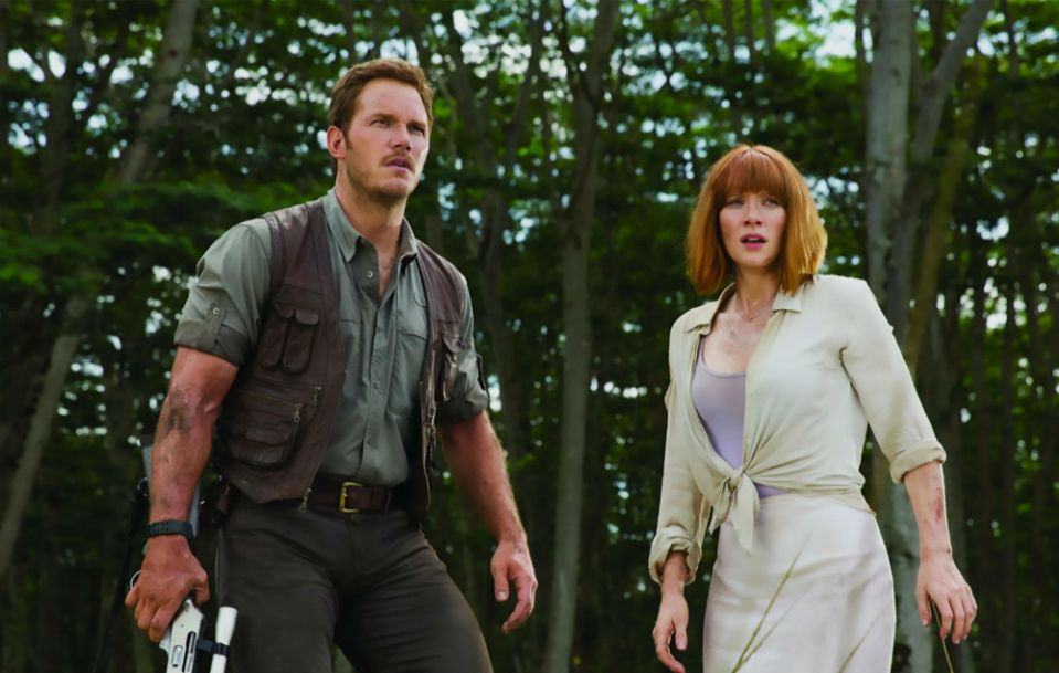 Chris Pratt and Bryce Dallas Howard in Jurassic World (Credit: Universal)