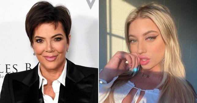 Kris Jenner pictured separately alongside TikTok star Ava Louise