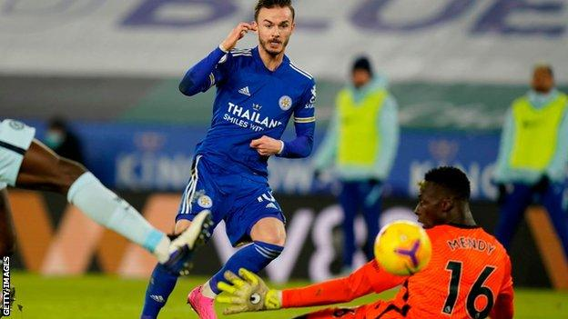 James Maddison scores against Chelsea