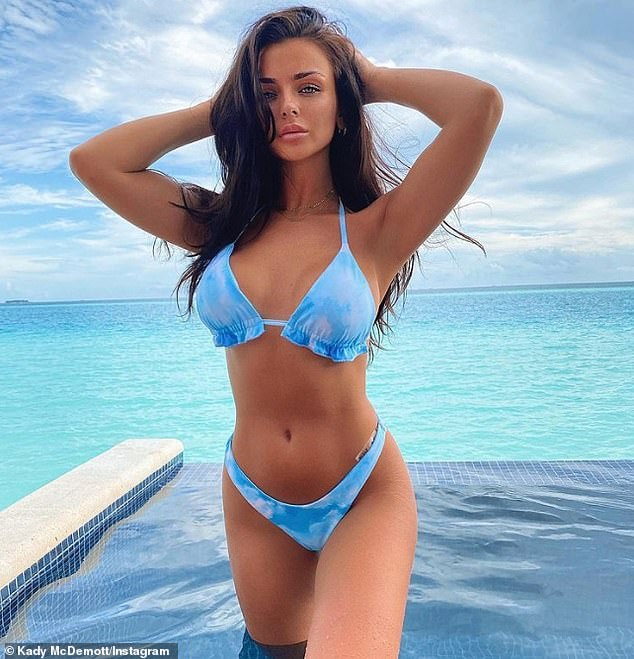 Wow! Kady McDermott showcased her sensational figure in a two-piece at the Maldives Hard Rock Hotel on Monday after she hit back at trolls on Friday who criticised for her 'business trip'