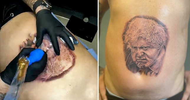 A tattoo artist finishing a tattoo of Boris Johnson and a completed Boris Johnson tattoo.  Kenny Wilding got a tattoo of Boris Johnson to raise money for a family friend to get treatment for stage four rectal cancer.
