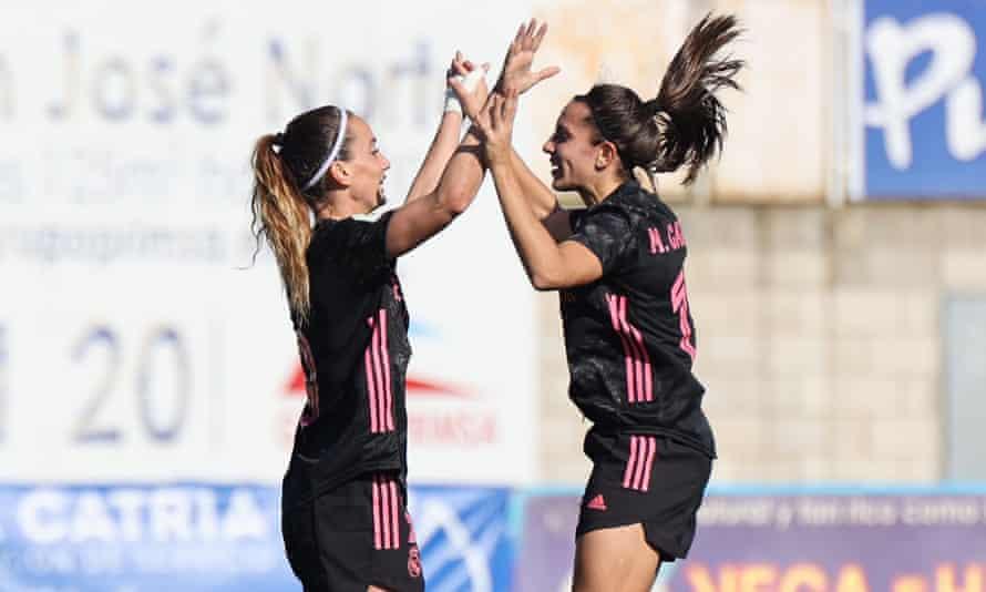 Kosovare Asllani (left) and the summer arrival Marta Cardona celebrate a Real Madrid goal against Real Betis this season.