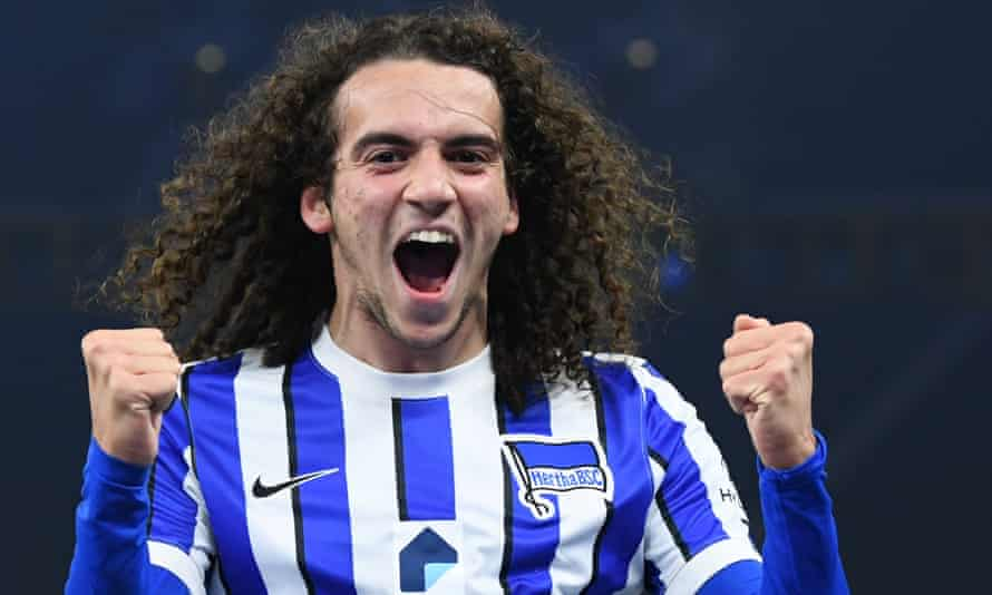 Hertha Berlin's French midfielder Mattéo Guendouzi celebrates scoring a goal