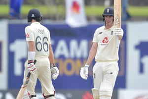 Dan Lawrence brings up a maiden fifty on his Test debut.
