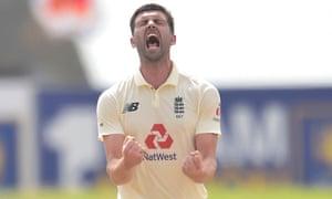 Mark Wood celebrates the wicket of Lasith Embuldeniya.