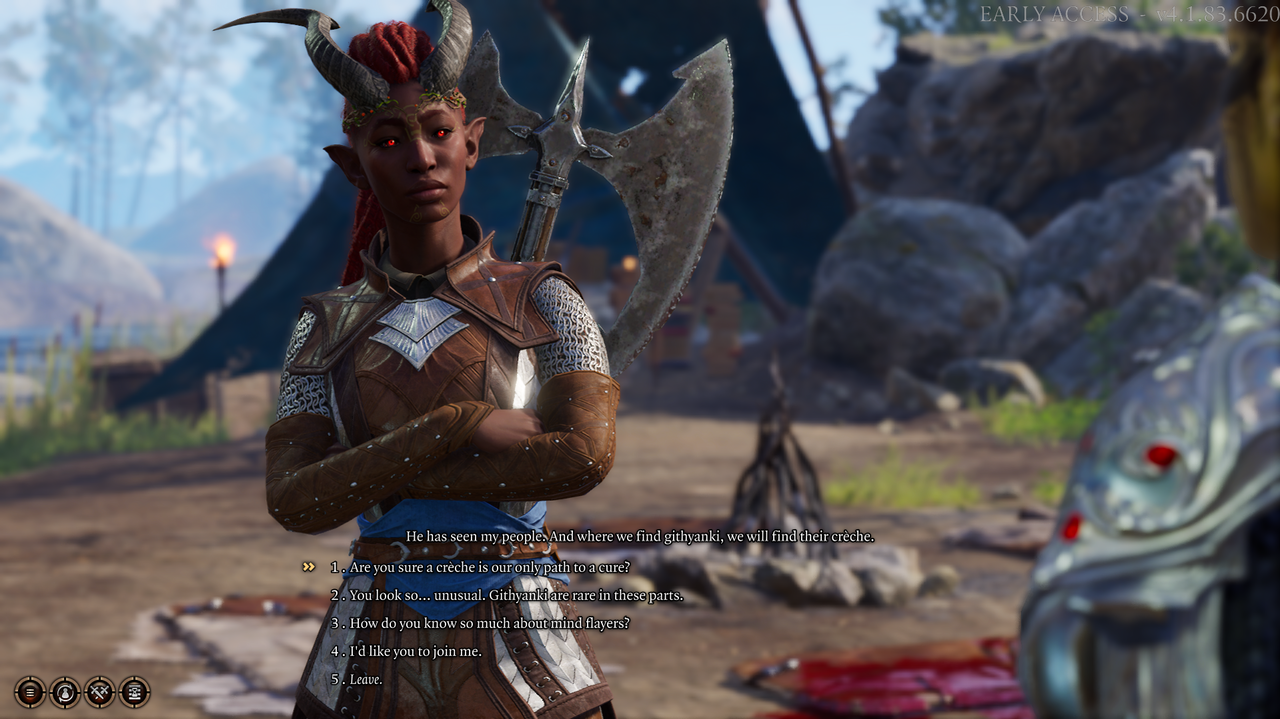 I love that my tiefling in Baldur's Gate 3 looks like a tiefling while also looking like a Black person. (Screenshot: Larian Studios)