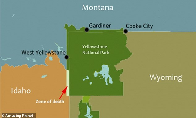 Yellowstone National Park stretches more than 3,400 square miles through Wyoming and Montana, but a small portion of the park dips into Idaho that is known as the 'Zone of Death.' Within this 50-square-mile area of Idaho is a loophole in the US Constitution that would allow someone to theoretically get away with any crime, including murder