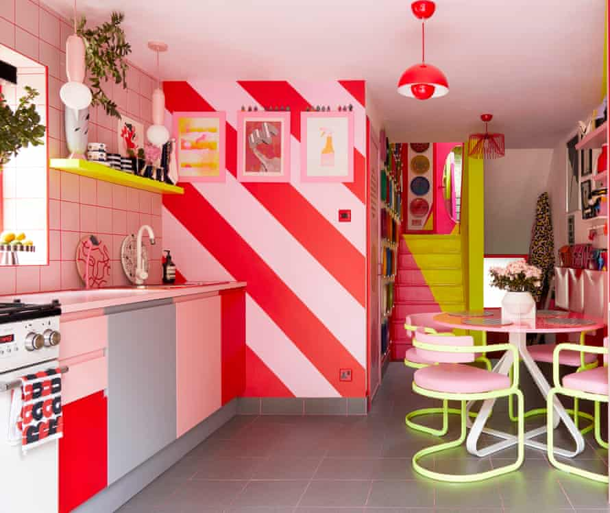 The kitchen with flashes of neon colours and clashing stripes, lacquered tubular steel chairs, 1980s kitchenalia, and Quirk & Rescue homeware.