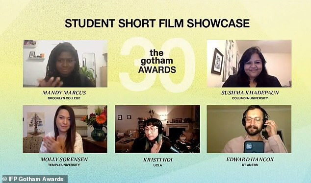 Showcase:Rene Elise Goldsberry takes to the stage to present the winners of the Student Short Film Showcase, who each win $10,000 and a 12-month distribution platform on JetBlue's in-flight entertainment and distribution through Focus Features