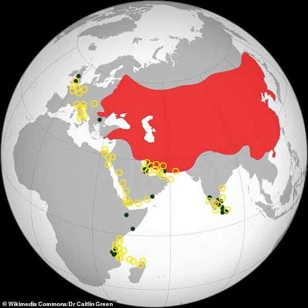 Pictured, thedistribution of evidence for the presence of medieval Chinese pottery (circles) and coins (dots). The maximum extent of the Mongol Empire in the late thirteenth century is in red. As shown here, the only other 10th or 11th century Chinese coin known from Europe is one uncovered in Bulgaria
