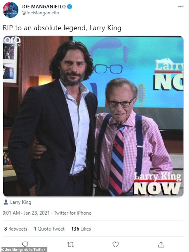 Joe Manganiello paid his respects to 'an absolute legend' on Twitter with a shot of the pair post interview