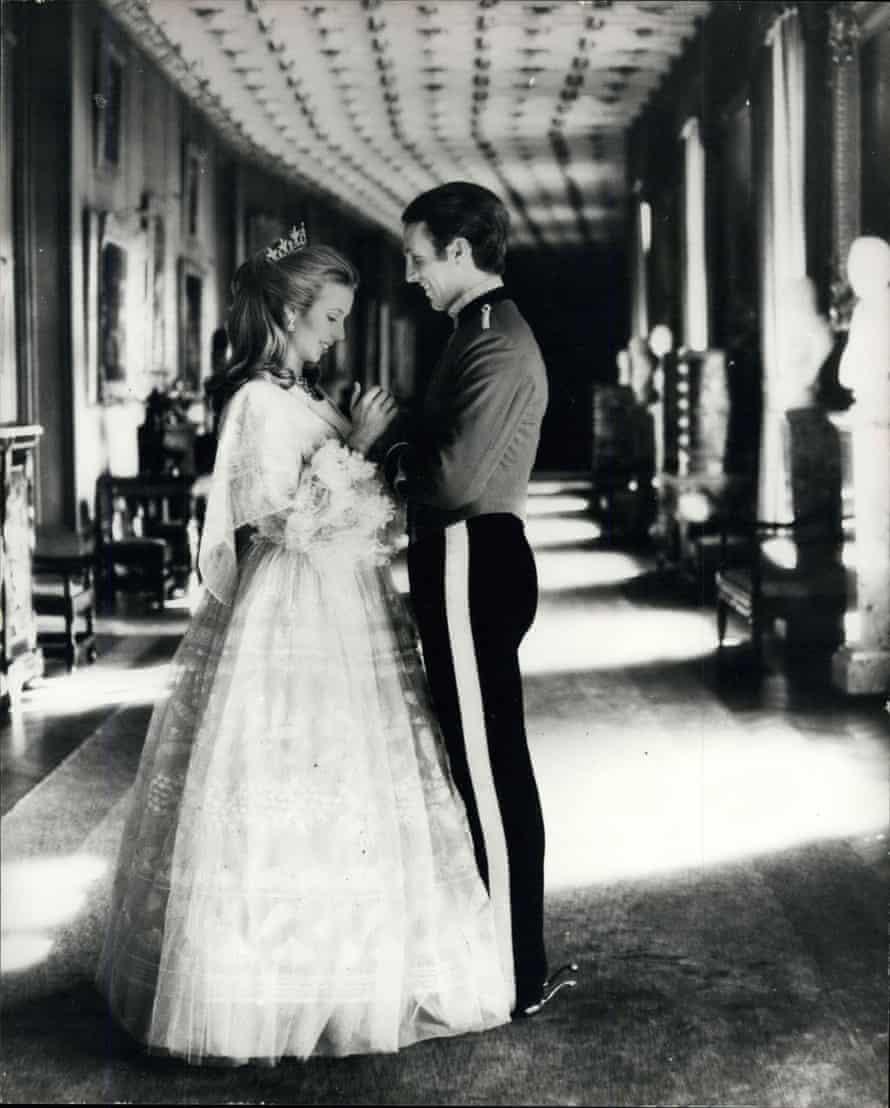 Princess Anne wearing her Zandra Rhodes wedding dress with Captain Mark Phillips in November 1973.
