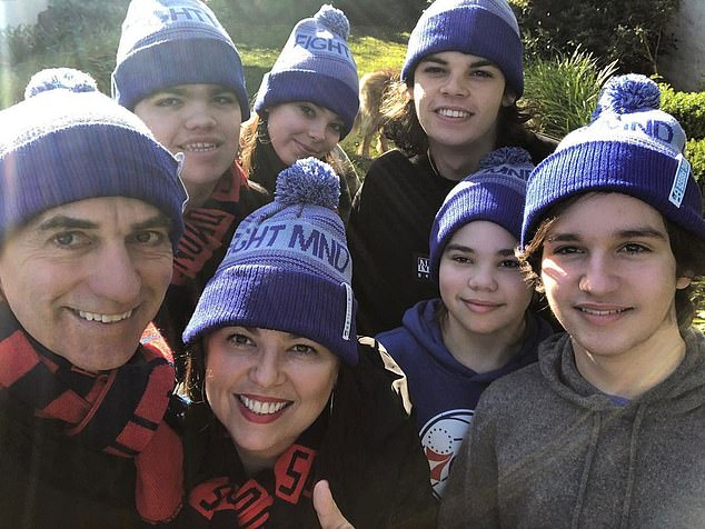 'This year marks my third VCE/HSC student in a row and I think most parents will understand what that means, particularly during a COVID lockdown bubble,' Jane explained. Pictured with her family