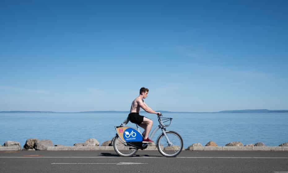 On the Cardiff Bay Trail. The city has been declared the UK's most bike-friendly city.