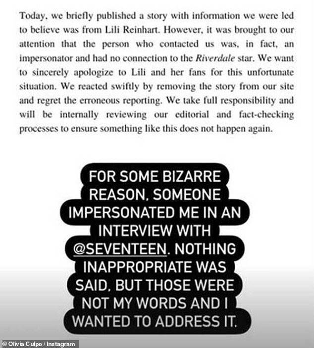 Addressing it: The 24-year-old wrote: 'For some bizarre reason, someone impersonated me in an interview with @Seventeen. Nothing inappropriate was said, but those were not my words and I wanted to address it'