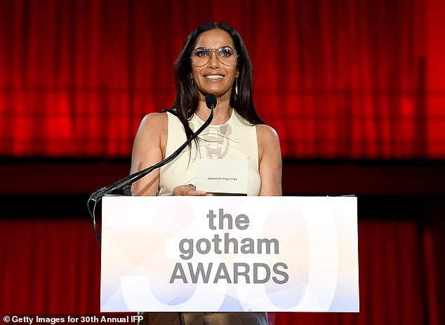 Padma:Padma Lakshmi takes the stage next to present the award for Best Documentary, which she calls 'the stories of our time'