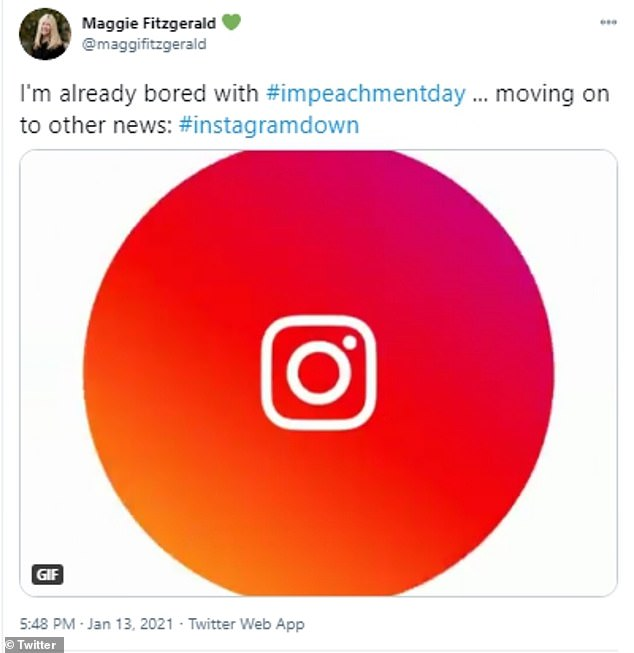 Maggie Fitzerald joked that she was bored with #impeachmentday and is moving on to other news that Instagram is down.DownDetector show reports of problems began around 5:00pm ET, but the cause or when it will be restored are unknown