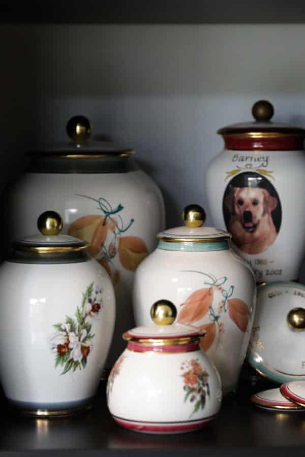 Crematory urns at the Animal Memorial Cemetery and Crematorium located in Berkshire Park NSW, Australia.