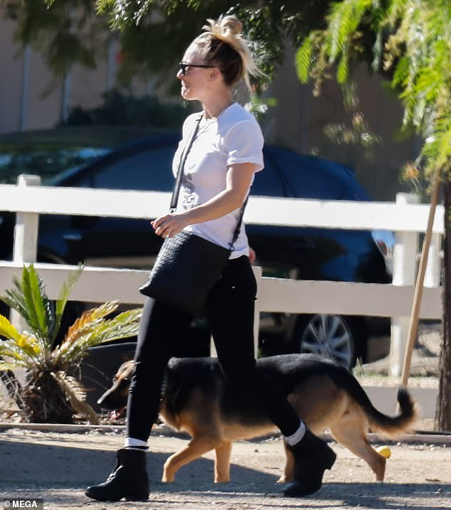 Painful loss: Kaley looked emotional as she strolled in LA neighborhood on Friday with another of her dogs