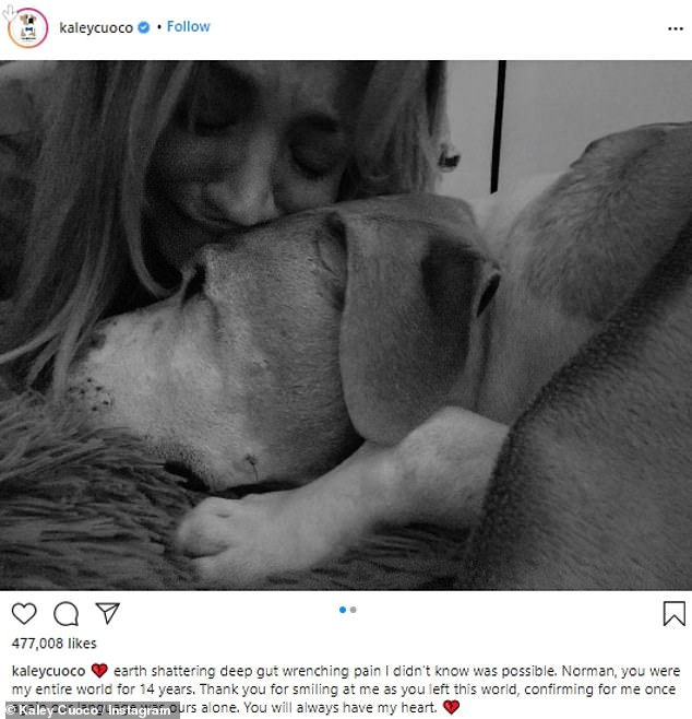 The heartbreaking announcement came with two black and white photos of the actress looking emotional while cuddling up to Norman, who was curled up on a rug