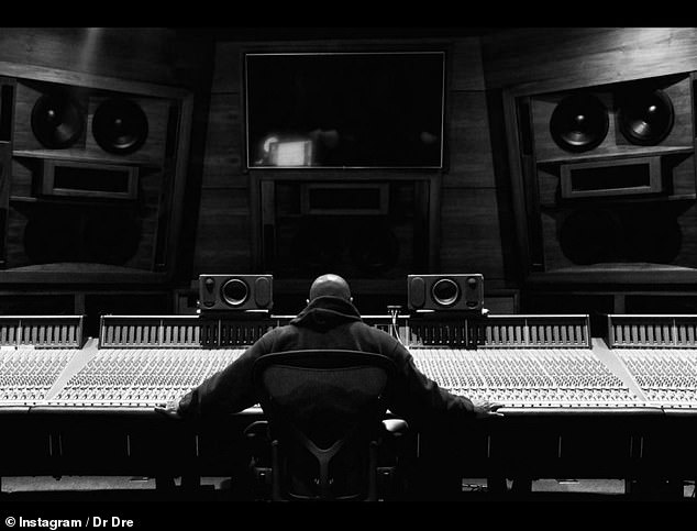 'I'm doing great': Dre posted this photo of himself at the studio as he updated fans on his health earlier this week