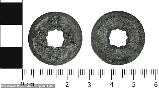 Pictured, a similar Chinese coin found in Cheshire and identified by the British Museum in 2018