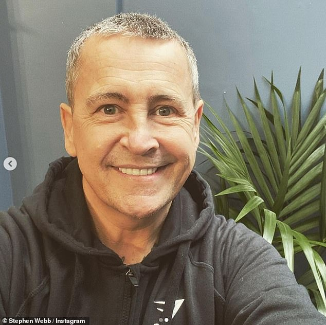 Debut the new look: The TV star, 48, shared a snap of his short ash-blonde hairstyle and beamedwhile sporting a Gymshark hoodie