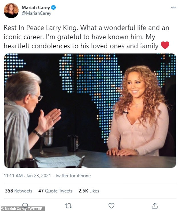 'Rest In Peace Larry King. What a wonderful life and an iconic career,' Mariah Carey wrote. 'I'm grateful to have known him. My heartfelt condolences to his loved ones and family'