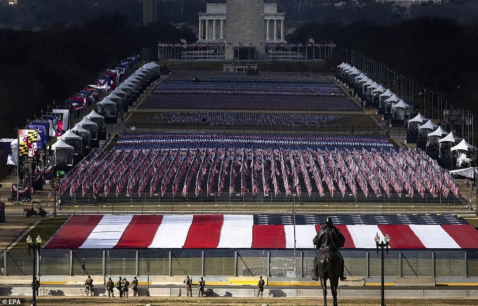 Approximately 191,500 flags will cover the National Mall in honor of those unable to travel to Washington for the inaugration of President-elect Joe Biden due to the pandemic (above)
