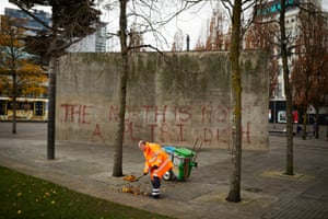 16 November – The infamous concrete wall in Piccadilly Gardens in Manchester, designed by Japanese architect Tadao Ando and opened in 2002. The structure has since been dubbed the Berlin Wall by many Mancunians and is due to be demolished starting this week. It has been daubed with the inscription 'The North is not a petri dish' by local graffiti artist Frankie Stocks