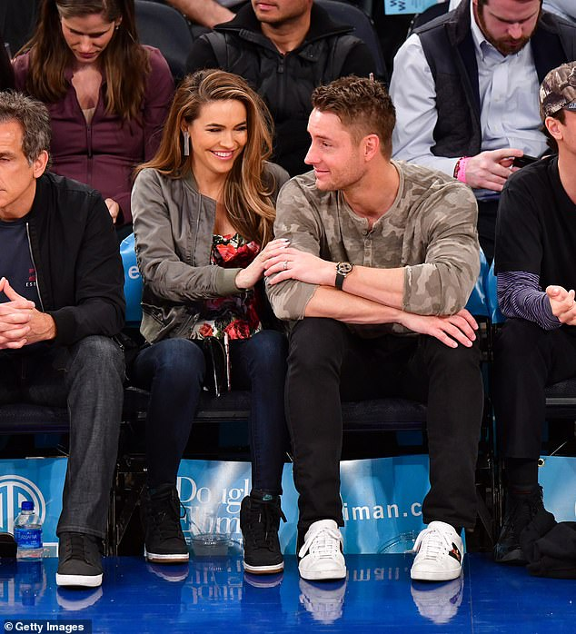 Impulsive: She also referred to Justin's divorce filing as an 'impulsive' decision and that he would often use the same 'I'm out' approach during fights they had in the past; Chrishell and Justin pictured in April of 2019