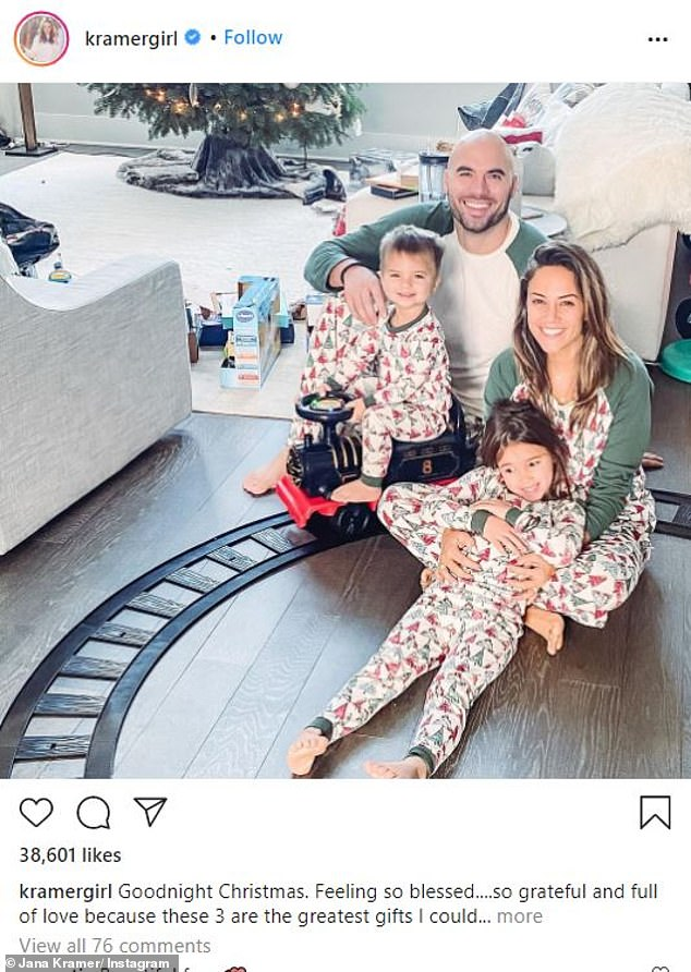 Close call: 'Literally in a blink of a second...that's how fast a kid could be taken. Thank God that's not what happened here,' wrote Jana. Seen here with husband Michael and kids Jolie, 4, and Jace, 2