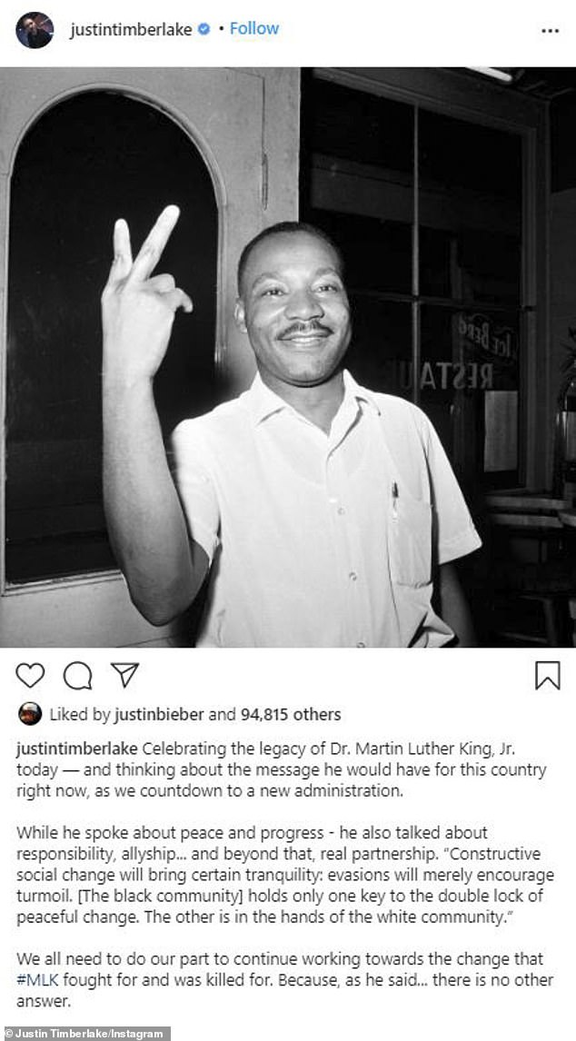 Right on the mark: Justin Timberlake said that Martin spoke about peace and progress