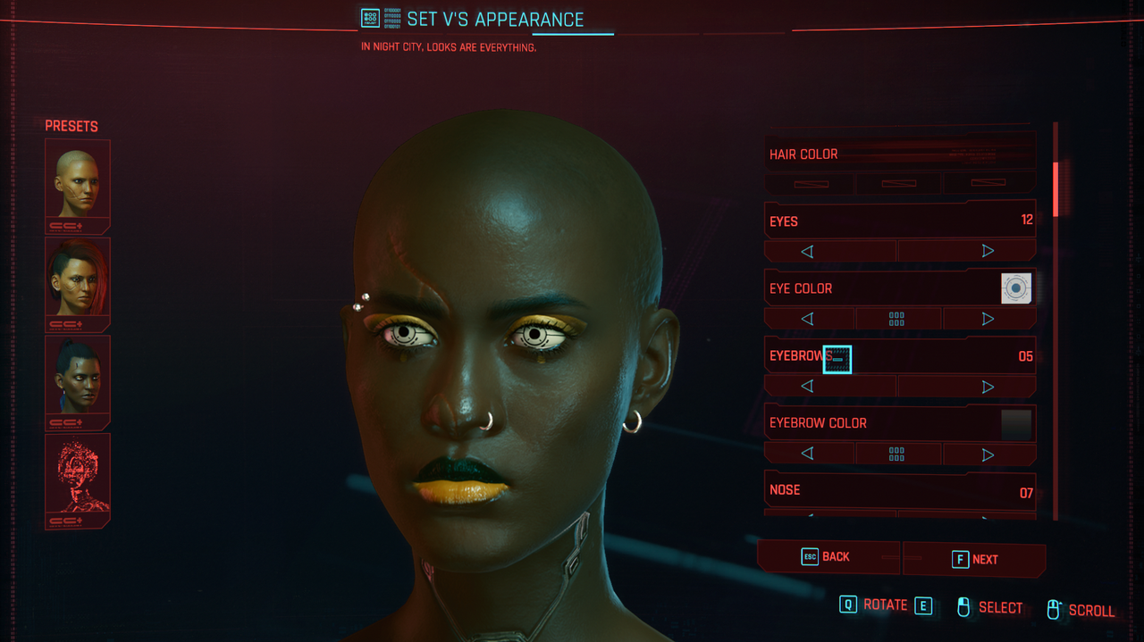 The unique makeup options were definitely one of the things I loved about Cyberpunk 2077's character creator. (Screenshot: CD Projekt Red)