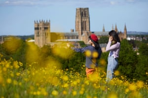 26 May – Durham Cathedral on the horizon as visitors to Observatory Hill look out over the city on a sunny afternoon