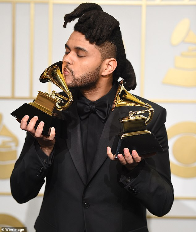 Not his focus: 'Look, I personally don't care anymore. I have three Grammys, which mean nothing to me now, obviously,' began the 30-year-old singer-songwriter; The Weeknd pictured in 2016