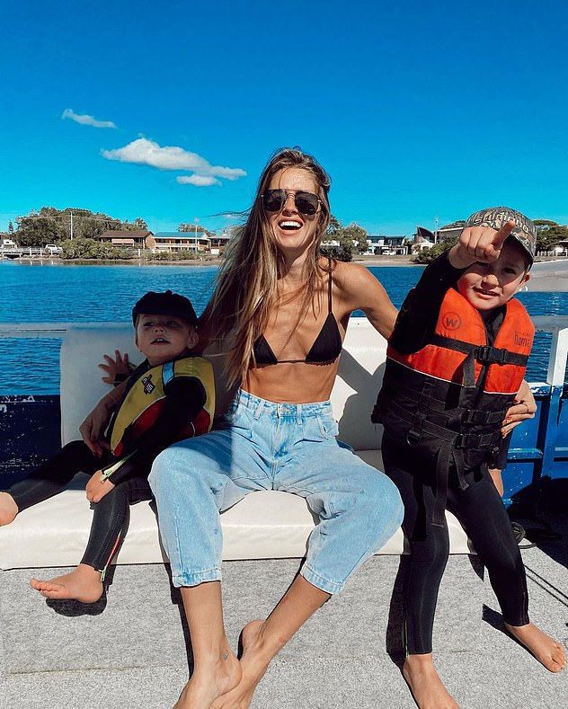 Multi-tasking mamma: Ruby works as a model and influencer while raising her two sons Rocket and Mars (pictured together)