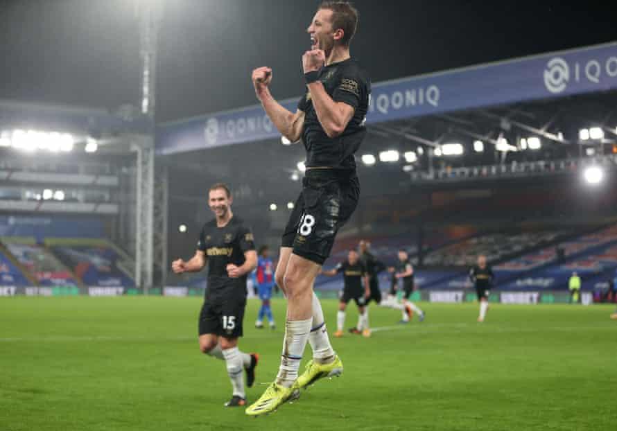 Tomas Soucek, pictured celebrating against Crystal Palace, is West Ham's top scorer.