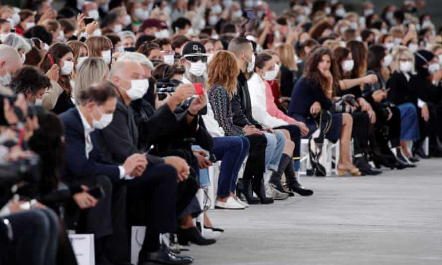 Guests wearing face masks at the spring/summer 2021 ready-to-wear collection show by designer Virginie Viard for Chanel during Paris fashion week last October.