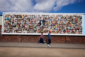 12 May – A giant poster featuring the faces of key workers outside the rugby ground at Barrow-in-Furness