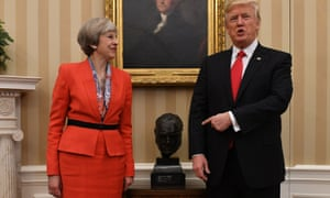 Donald Trump showing Theresa May the bust of Winston Churchill in the Oval Office when she visited in 2017. The bust has now been removed.