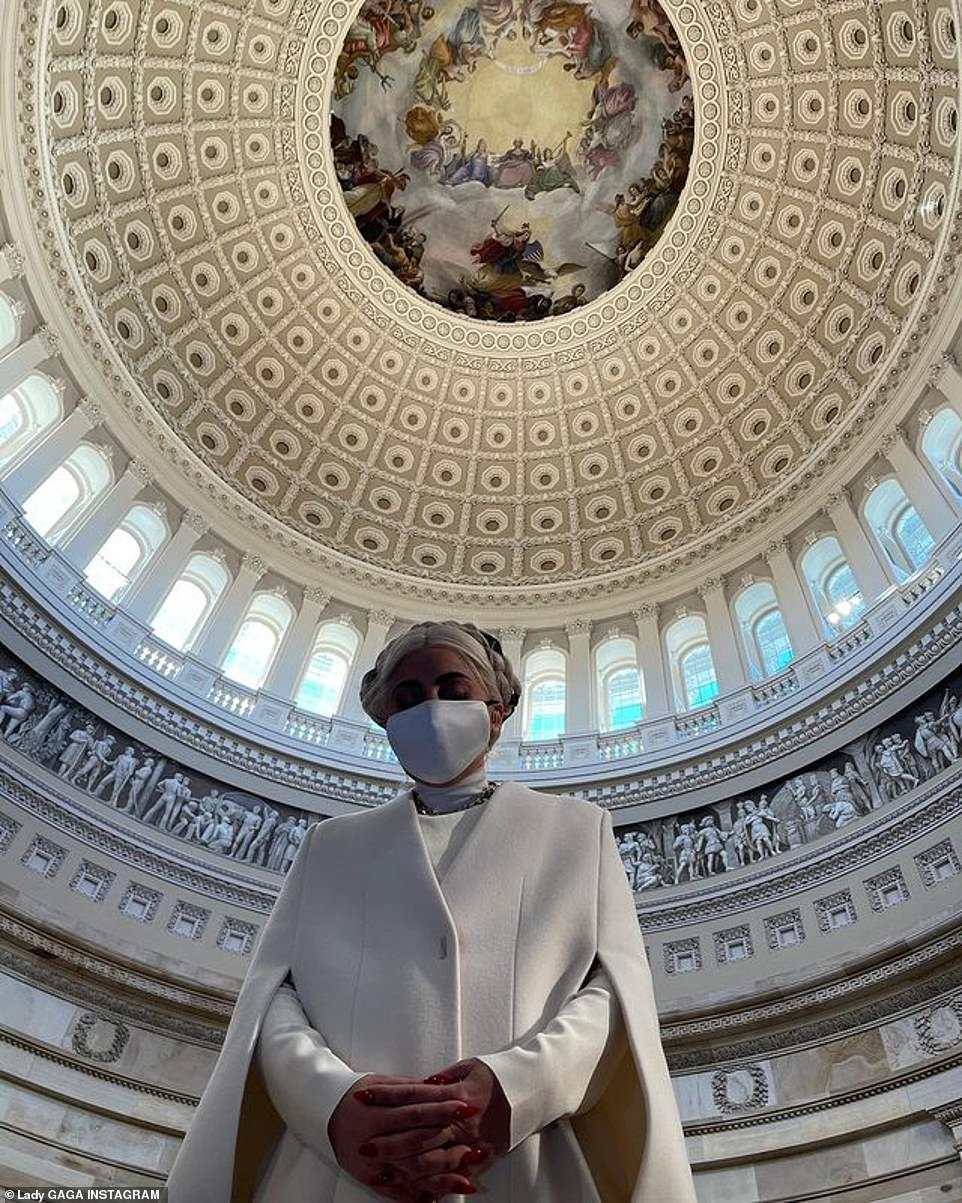 Prayers: Yesterday the Stupid Love singer said a prayer for peace as she shared a snapshot from the nation's capitol, asking fans for 'A day for love, not hatred. A day for acceptance not fear. A day for dreaming of our future joy as a country. A dream that is non-violent, a dream that provides safety for our souls'
