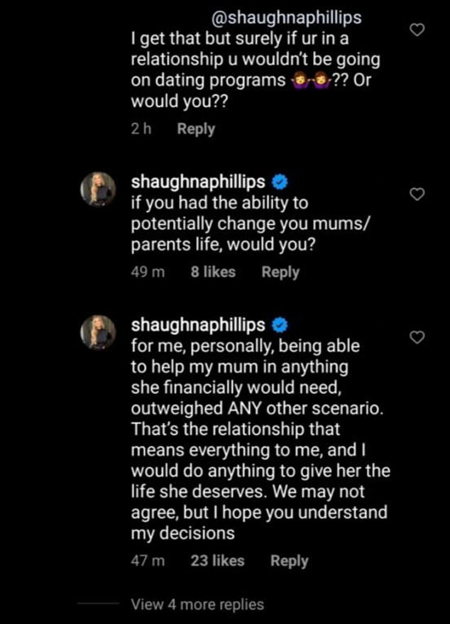 Oh!'If you had the ability to potentially change your mum's/parents' life, would you? For me, personally, being able to help my mum in anything she financially would need outweighed ANY other scenario,'Shaughna had replied to one comment, now-deleted