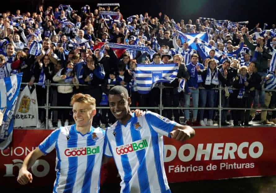 Martin Ødegaard and Alexander Isak celebrate after reaching the 2020 Copa del Rey final.
